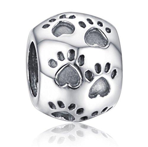"Andante-Stones 925 Sterling Silber Bead Charm ""Pfoten"" Element Kugel für European Beads Modul Armband + Organzasäckchen"
