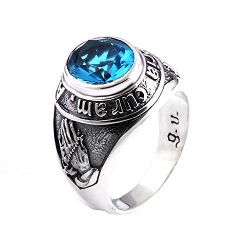 Beydodo 925 Sterling Silber Ring Herren Beten Hände mit Blau Zirkonia Partnerring Silberring