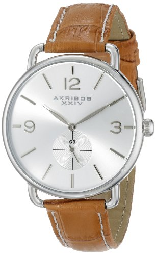Akribos-XXIV-Damen-Essential-Edelstahl-Uhr-mit-Lederband