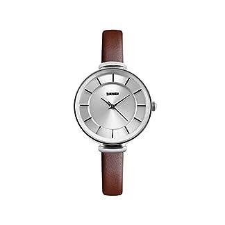 iLove-EU-Damen-Armbanduhr-Elegant-30m-Wasserdicht-Analog-Quarz-Uhr-mit-Silber-Zifferblatt-und-Braun-Leder-Armband
