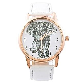 Souarts-Damen-Armbanduhr-Einfach-Stil-Elefant-Muster-Analoge-Quary-Uhr-mit-Batterie-Wei