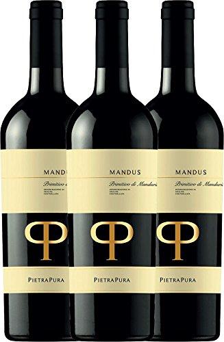 3er-Vorteilspaket-Mandus-Primitivo-di-Manduria-DOC-2016-Pietra-Pura-trockener-Rotwein-italienischer-Wein-aus-Apulien-3-x-075-Liter