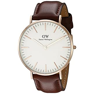 Daniel-Wellington-Herren-Armbanduhr-St-Mawes-Analog-Quarz-Leder-Rose-Gold-DW00100006