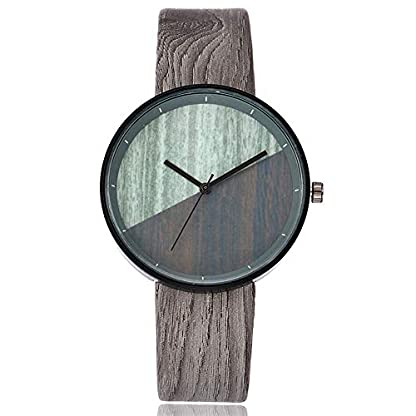 Yuwegr-Damen-Uhren-Casual-Quarz-Mode-Einfache-Elegant-Damen-Uhr-Lederband-Analoge-ArmbanduhrGrau