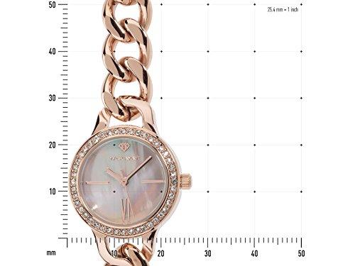 Yves-Camani-Damen-Armbanduhr-Burgaudine-mit-hochwertigem-Edelstahl-Gehuse-und-ein-Zifferblatt-aus-Perlmutt-Elegante-Quarz-Damen-Uhr-mit-steinbesetzer-Lnette-und-rosgoldenem-Edelstahl-Armband