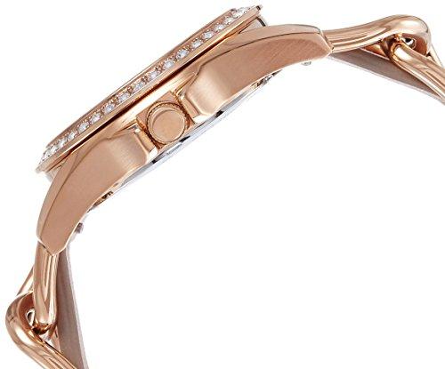 Fossil-Riley-Analoguhr-Damen-rosgold–Elegante-wasserdichte-Quarz-Uhr-aus-Edelstahl-mit-Strasssteinen-beigem-Lederarmband-mit-Wochentags-Datumsanzeige