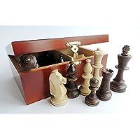 C167-Professionelle-Staunton-Nr-5-gewichtete-Holz-Schachfiguren-in-stylischen-Box-Knig-90mm