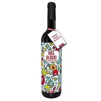 Wein-Viel-Glck-fr-alles-was-du-vorhast-trockener-Rotwein-aus-Spanien100-Tempranillo-Valdepenas-2015-STEINBECK-Geschenk-Mitgebsel-Geburtstag-Freundin-Freund-modern-Vgel