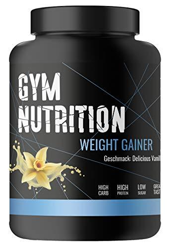 GYM-NUTRITION® — WEIGHT-GAINER – ideal für Body-Builder & Hard-Gainer, die Gewicht aufbauen wollen – Mass & Muscle Powder – Made in Germany — 3-kg, Geschmack: DELICIOUS VANILLA
