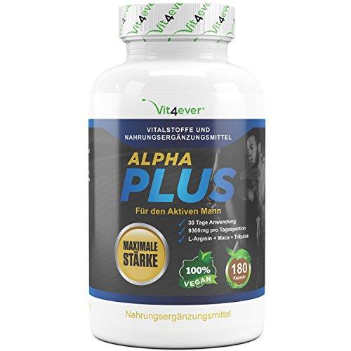 Alpha Plus – Maximale Stärke – 9300 mg Tagesdosierung – 180 Kapseln – 30 Tage Anwendung – L-Arginin + Maca + Tribulus – Hochdosierte Formel für aktive Männer & Sportler – Kraft & Ausdauer