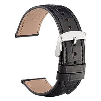 WOCCI-Alligator-Geprgtes-Leder-Uhrenarmband-Echtlederarmband-Italien-mit-Schnalle-Silber-18mm19mm20mm21mm-oder-22mm
