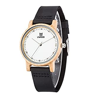 Damen-Holzuhr-Uwood-Bambus-Holzuhr-Damen-Mdchen-Gre-36mm-Uhr-echtes-lederarmband-holz-armbanduhr-damen