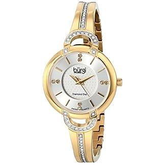 Burgi-Damen-Classic-Analog-Display-Swiss-Quartz-Armbanduhr-mit-Edelstahl-Armband