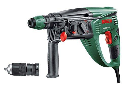 Bosch-Bohrhammer-PBH-3000-2-FRE-SDS-Bohrfutter-Flachmeiel-Tiefenanschlag-Zusatzhandgriff-Koffer-750-Watt