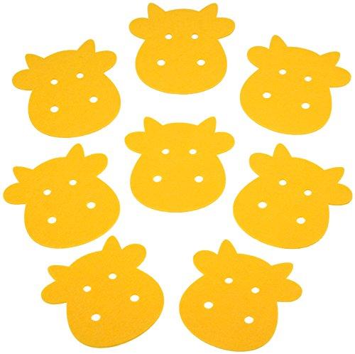 8x Filz Untersetzer, Kuh-Motiv Gelb, 10x10cm, zur Deko im Frühling-Sommer, 3mm Stärke | Perfekt Für Esszimmer, Küche, Bad Und Wohnzimmer | Für Tassen, Gläser Aller Größe