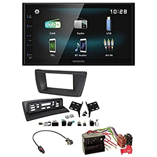 caraudio24-Kenwood-DMX125DAB-Bluetooth-2DIN-USB-DAB-MP3-Autoradio-fr-BMW-X3-E83-2004-2010-mittig