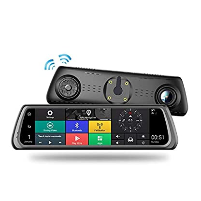 HUAXING-Dash-Cam-10-Zoll-Full-Screen-4G-Touch-IPS-Special-Car-Reversing-Mirror-mit-GPS-Bluetooth-WiFi-Android-51-fr-UberRideshareCab-Driver