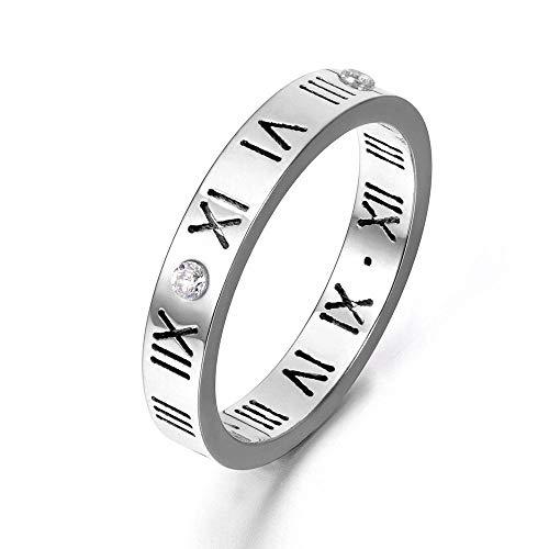 Ring mit römischen Ziffern Titanstahl und Swarovski-Kristallen silberfarben