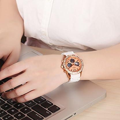 Time100-Damenuhr-Elegant-Keramik-Uhr-Choronophuhr-Damen-Armbanduhr-SchwarzRosegold