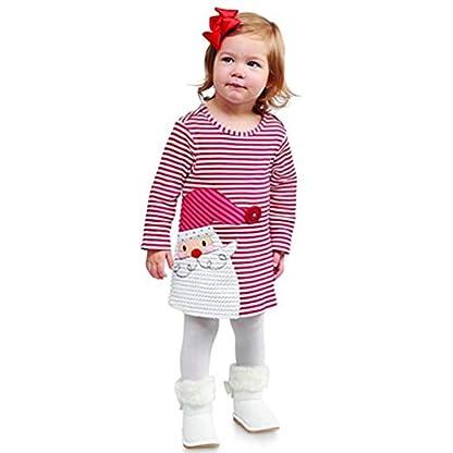 RWINDG-Kleinkind-Kinder-Babyausstattung-Baby-Outfits-Mdchen-Santa-Striped-Mantel-Prinzessin-Kapuzenpullover-Kleid-Weihnachten-Outfits-Streifen