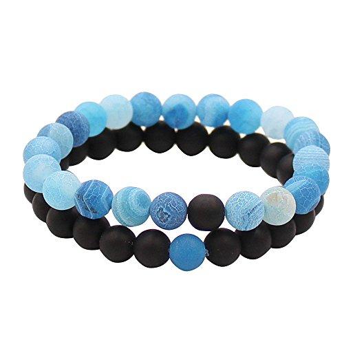 Paar Abstand Armbänder für lovers-2pcs schwarz matt Achat & Howlith weiß 8mm Perlen von ueuc