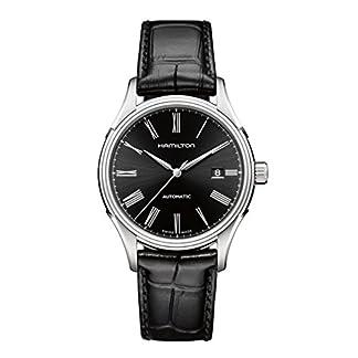 Hamilton-Herren-Armbanduhr-Valiant-Auto-Lederarmband-H39515734-Schwarz