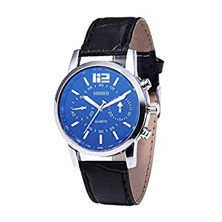 Unisex-UhrenBeilufig-Leder-Band-Quarzuhr-Blue-Ray-Glas-Uhr-Legierung-Case-Geschft-Watch-Proumy