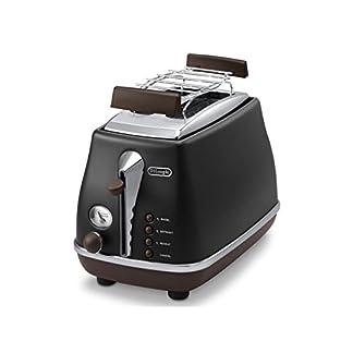 DeLonghi-CTOV-2103BK-Toaster-Icona-Vintage-schwarz-lederoptik