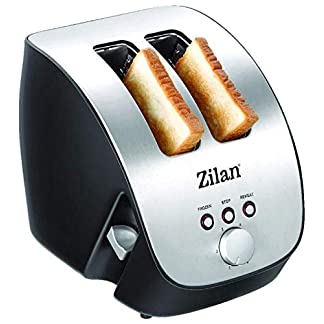 Edelstahl-Toaster-2-Scheiben-Toaster-Design-Toaster-Schrg-Ttoaster-Toastautomat-Rstautomat-1000-Watt-Edelstahl-Gehuse-Stufenlos-einstellbar-INOX-Design