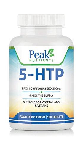 Hochintensives 5-HTP (200mg), 180 Tabletten (6-Monats-Vorrat), für Vegetarier & Veganer geeignet, fördert gesunden Schlaf und Ruhe und erhöht den Serotonin-Spiegel