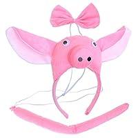 BESTOYARD-3-Stcke-Schwein-Ohren-Kostm-Stirnband-mit-Fliege-und-Schwanz-Schwein-Kostm-Zubehr-fr-Kinder-Erwachsene-Party-Cosplay