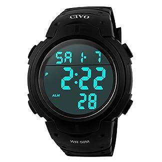 CIVO-Digital-Armbanduhr-Herren-Jungen-Modisch-LED-Militr-Chronographen-Mnner-Sportuhr-Stoppuhr-Wecker-Wasserdicht-Casual-Uhr-Alarm-Datum-Kalender-Tactical-Uhren-Silikon-Quarzuhr-fr-Herren-Schwarz