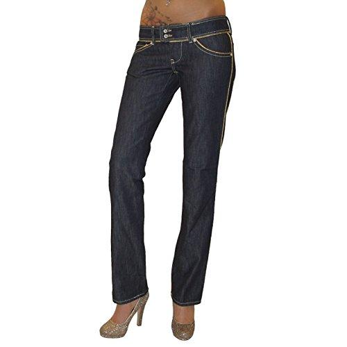 MET Design Damen Jeans Victoria Gold Jeanshose Hose gerades Bein dunkelblau