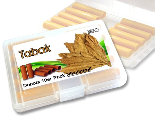 N$B® Depots ,,Tabak,, 10er Pack im Etui für E-Zigaretten ohne Nikotin