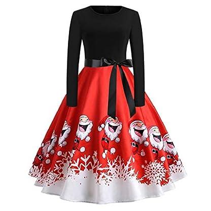 Luckycat-Weihnachten-Kleidung-Damen-Kleider-Damen-Weihnachten-Karneval-Kostm-Festlich-Cocktailkleid-Abendkleid-Spitzenkleid-Frauen-Verein-Partykleid-Retro-Gedruckt-Lang-rmel-Knielang-Ballkleid