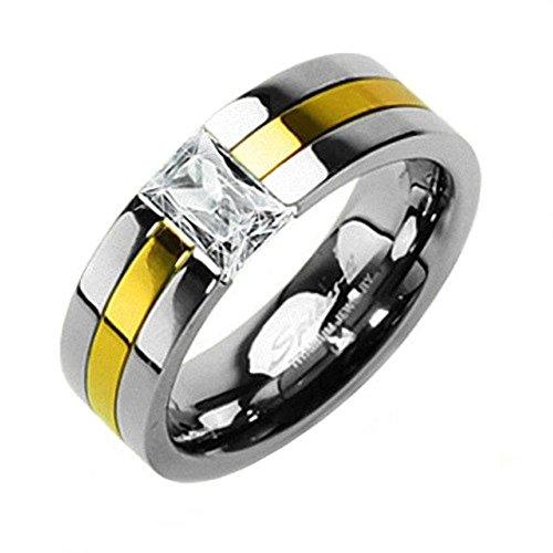 Mianova Band Ring Titan Gold plattiert Silber mit Zirkonia Kristall für Damen oder Herren