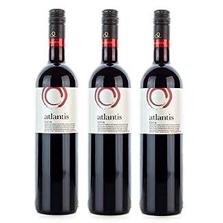 3x-750ml-Atlantis-Rotwein-trocken-vollmundig-Santorini-Argyros-griechischer-Rot-Wein-Set-10ml-Olivenl-von-Kreta-zum-Test