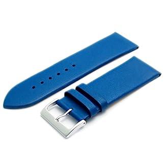 Feines-Kalb-Leder-Uhrenarmband-Band-22-mm-Mid-Blau-mit-Chrom-Silber-Farbe-Schnalle-KOSTENLOSE-Spring-Bars-Armbanduhr-Pins