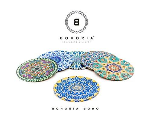 Bohoria® Premium Design Untersetzer (6er Set) Kaffee Tee Glas Tasse Boho Orient Soho Mandala (Boho)