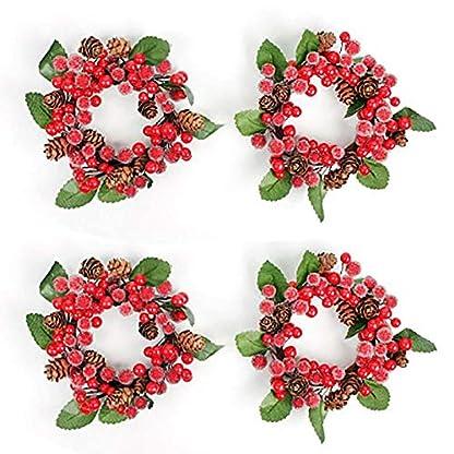 Nikgic-Weihnachten-krnze-klein-Weihnachtsdeko-rote-Beeren-Kiefernzapfen-Trkranz-Dekokranz-zum-Dekoration-Kamin-Tr-Hochzeit-Fensterrahmen-Urlaub-Festival-Zuhause-12cm