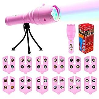 Weihnachten-Projektor-Taschenlampe-Junnom-Musical-Weihnachten-LED-Projektor-Lichter-Kindertaschenlampe-Kinderspielzeug-2-in-1-Taschenlampe-Projektor-Licht-mit-Stativ-und-12-Folien-Muster-Rosa-Schwarz