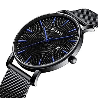 SUNWH-Herren-Uhren-Slim-Minimalist-Armbanduhr-Edelstahl-Wasserdicht-Analog-Quarzuhren-Datum-mit-Mesh-Band