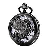 TREEWETO-taschenuhr-mit-kette-herren-schwarz-rmische-ziffern-retro-uhr-pegasos-geflgeltes-pferd-taschenuhren-mechanisch-pocket-watch