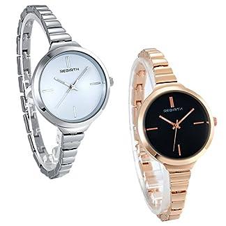 JewelryWe-Damen-Schlank-Metall-Band-Luxus-Analog-Quarz-Armbanduhr-Frauen-Casual-Klassisch-Zeitlos-Einfach-Classic-Elegant-Uhr-Weiblich-Kleid-Modisch-Mode-Streamline-Damenuhren-Silber-Rosegold