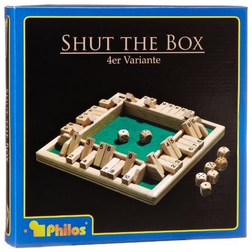 Philos-3280-Shut-The-Box-10er-fr-1-4-Personen-Wrfelspiel-Klappenspiel