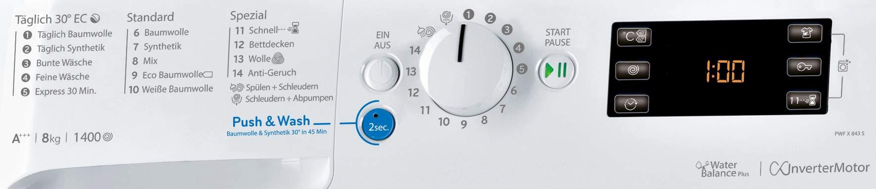 Privileg-PWF-X-843-S-Waschmaschine-FrontladerA-10-1400-UpM-8-kgMengenautomatikStartzeitvorwahlMaschinenreinigungInverter-MotorWasserschutzDaunenWolleKindersicherung