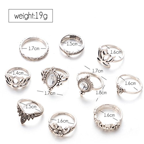 Orientalisches Vintage Fashion Midi Ringe Fingerring-Set für Damen Mädchen, 10PCS Retro Midiringe Set Fashion Frauen Midi Ring Nagel Finger Band