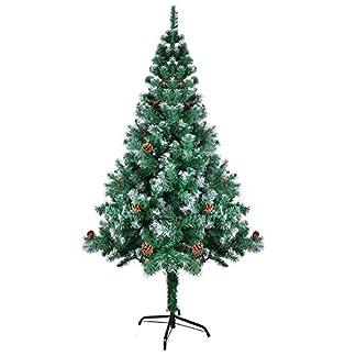 OZAVO-Weihnachtsbaum-knstlicher-Tannenbaum-120150180210-cm-Christbaum-mit-Kiefernzapfen-inkl-Metallstnder-schwer-entflammbar
