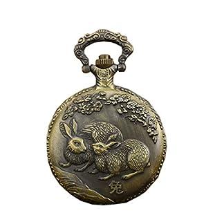 Antike-Anhnger-Taschenuhr-Gravierte-Fob-Uhr-Quarzwerk-mit-chinesischen-Tierkreis-Kaninchen