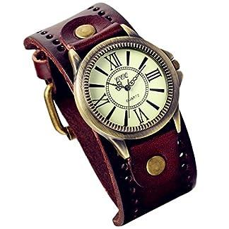 Lancardo-2pcs-Herren-Damen-Armbanduhr-Klassische-Casual-Analog-Quarz-Uhr-mit-rmische-Ziffern-Zifferblatt-Leder-Armband-braun